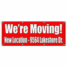 WE'RE MOVING! CUSTOM LOCATION RED Banner Sign 2 ft x 4 ft w/4 Grommets