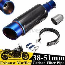 38-51mm Motorcycle Carbon Fiber Exhaust Muffler Pipe Silencer Street Bike GP