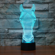 Horse Head Shape Acrylic 3D LED Night Light Table Lamp USB 7-color change