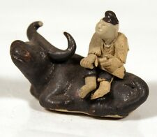 Chinese Bonsai Mudman Figurine - Man on Ox Glazed, Authentic, Hand-Made