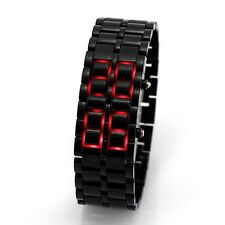 BLACK Digital Lava Steel Led Flash Calendar Quartz Men Lady Wrist Watch Date