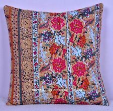 """Beige Floral Print Cushion Pillow Cover Kantha Stitch Cotton Indian Throw 16"""""""