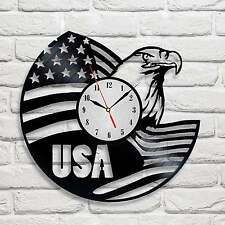 USA flag eagle design vinyl record wall clock home wall art shop home office