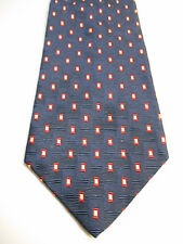 The Bentley Blue Silk Necktie w/ Light Brown and Red Woven Geometric Pattern
