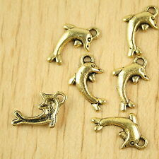 40pcs dark gold-tone dolphin charms h2291