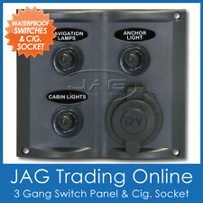 3-GANG TOGGLE & 1 CIG SOCKET SWITCH PANEL WATERPROOF - Marine/Boat/RV/Caravan *B