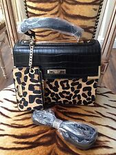 BNWT DUNE DINIDHAN LEOPARD PONY SKIN BAG WITH LEOPARD SKIN MATCHING PURSE
