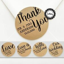 100 x Personalised Circle Wedding Bomboniere Sticker Labels - Kraft or White