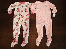 Carter's Toddler Girl Pajamas 1-Piece Fleece PJs sz. 4T LOT of 2!