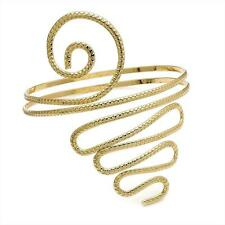 Snake Coil Gold Tone Egyptian Style Upper Arm Bangle/ Cuff/ Bracelet