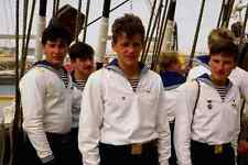 770092 Sailors Aboard Sedov Russian Tall Ship London Docklands England A4 Photo
