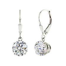 Sterling Silver 925 Round 2 cttw Genuine White Topaz Lever Back Dangle Earr
