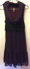 Free People 4 Purple Dress Anthropologie Lace Tunic Organza Belt Cowl Scoop Neck
