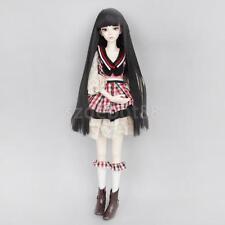 Black Long Full Wig Hair Straight Bang for 1/4 BJD MSD SD DOD Dollfie DOLLS