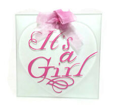 'It's a Girl' Decorative Glass Tile with Ribbon
