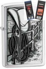 Zippo 24879 resting cowboy emblem Lighter with *FLINT & WICK GIFT SET*