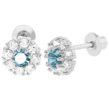 Rhodium Plated Light Blue Clear CZ Flower Screw Back Baby Toddlers Earrings