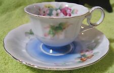 "Scalloped Edge Gold Rim and Floral Hand Painted 2.75"" Cup & 5"" Saucer Occ. Japan"