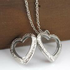 Friendship Couple Living Memory Locket ☆ Crystal Floating Heart Necklace Gift