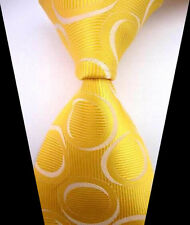 New Fashion Yellow&White Polka Dot WOVEN JACQUARD Silk Men's Suits Tie Necktie