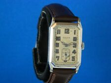 VINTAGE RARE GRUEN QUADRON WHITE 14KGF DECO MEN'S WRIST WATCH SERVICED  C.1929