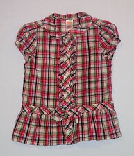 "Gymboree ""Smart & Sweet"" Bow Ruffled Button Front Pink Plaid Top, 5"