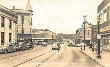 Waukesha WI Store Front's Business District Trolley Tracks RPPC Postcard