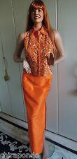 Abendkleid Abendrock Weste Gr. 36 Gr. 38 orange Perlen Pailletten Seide sexy