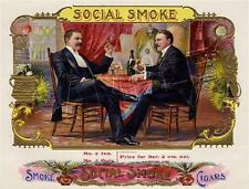 VINTAGE VICTORIAN CIGAR BOX LABEL SMOKING TOBACCIANA *CANVAS* BAR ART PRINT