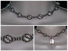 BDSM sub slave day collar choker silver stainless moonstone locking padlock 330