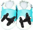 New Soft Sole Leather Baby Infant Kids Airplane Navy Boy Gift Shoes 0-6M