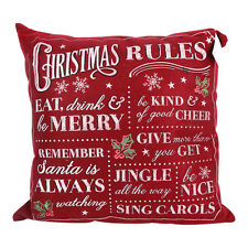 Vintage Christmas Rules Red Cushion – Decoration – Novelty – Pillow