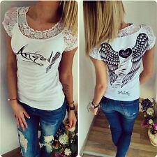 Damen Shirt T-Shirt Engel Flügel Sommer Hohl Rundhals Oberteil Spitzen-Kragen