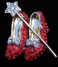 WIZARD OF OZ DOROTHY WAND RUBY RED SHOES SHOE SLIPPERS SLIPPER BROOCH PIN 2""