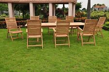 9 PC DINING TEAK CHAIRS PATIO FURNITURE X02 - ASHLEY FOLDING/RECLINE COLLECTION