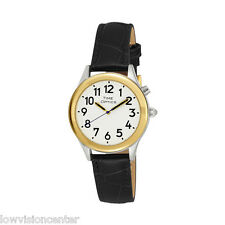 Ladies Two Tone Talking Watch White Face: Black Leather Band - Choice of Voice
