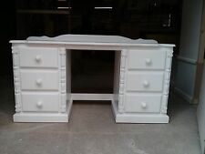 PINE FURNITURE ASHBOURNE WHITE 6 DRAWER DOUBLE PED DRESSING TABLE NO FLAT PACKS