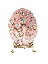 Faberge Egg Jewelry Trinket Box Crystal Enameled Collectible Hinged Bejeweled