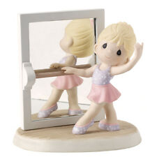 $ PRECIOUS MOMENTS Figurine BALLERINA CLASS STUDIO Dance Mirror Girl Pink Tute