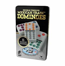 NEW Mexican Train double dot dominoes tin dominos game
