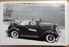 "12 By 18"" Black & White PICTURE 1936 Ford Cabriolet with rumble top down"