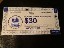 NEW YORK DOUBLE DECKER TOURS USED TICKET . great collectors condition.