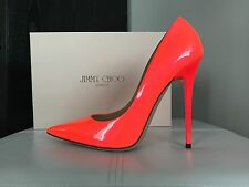 NEW! JIMMY CHOO ANOUK PATENT NEON ORANGE FLAME STILETTOS PUMPS 39 9 / 8.5 $625