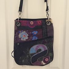 DESIGUAL Bandolera 37X5214 'S Patch' Purple Floral Embroidered Crossbody Bag EUC