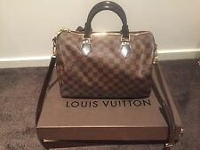 Authentic USED Louis Vuitton Damier Ebene Speedy Bandouliere 30 Handbag Bag