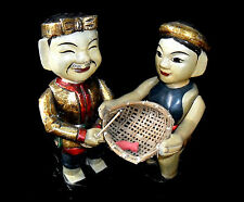 H: 36 cm Pair of Vietnamese Wood Carved Fisherman Puppet Doll - Free Shipping