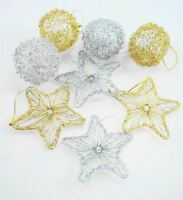 Wire Mesh Set of 2 Stars And 2 Balls Xmas Christmas Tree Hanging Decoration