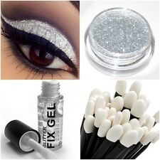 Glitter Eye Shadow Holographic Silver Shimmer LARGE 10g+ Stargazer Fix Gel +Wand