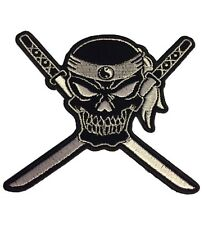 Crossed Swords Yin Yang Skull Novelty Velvet Embroidered Iron On Biker Patch