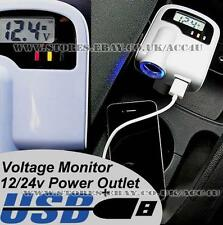 12v 24v Car Battery Digital Voltage Monitor Lighter Socket With Twin USB Adaptor